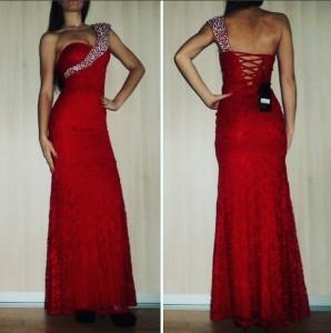 Dlhé čipkované šaty so zdobeným ramienkom sú vhodné na rôzne udalosti ako  sú plesy bd16a2139ce