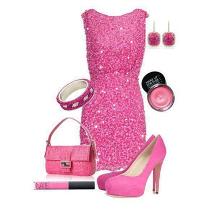 Ružová šaty a doplnky